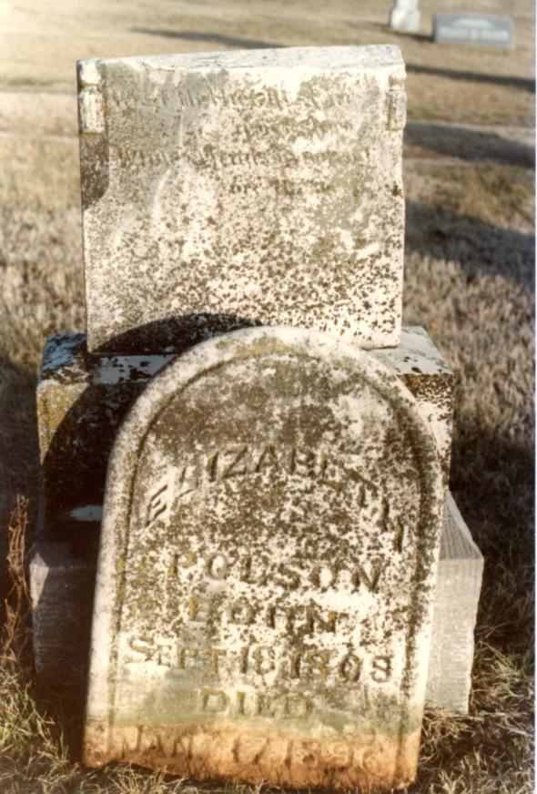 Elizabeth Polson grave stone, Prairie View AR cemetery