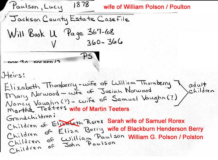 Lucy Polson Jackson Country Alabama probate file folder