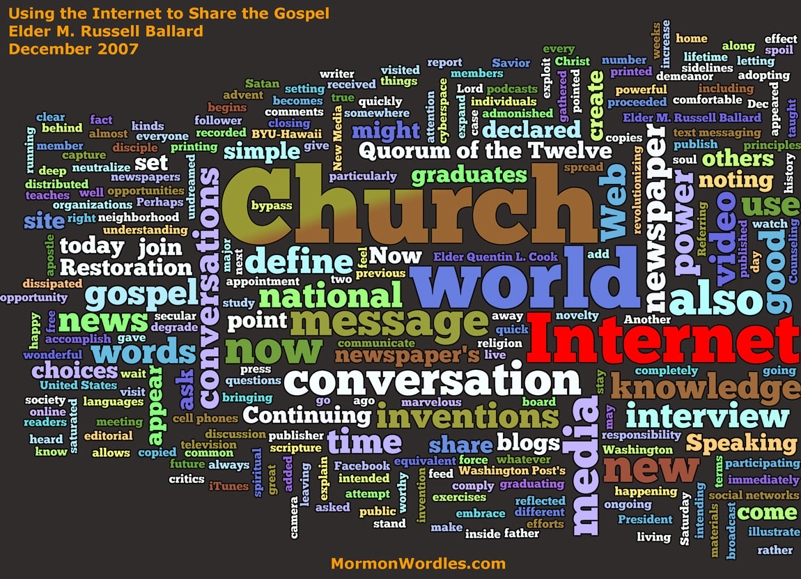 Elder Ballard's Message on Use of the Internet Wordle
