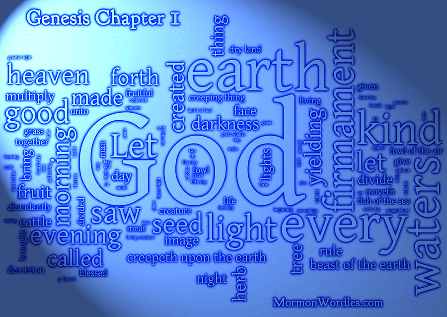 Genesis Chapter 1 lighted wordle